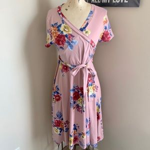 Pink Floral Wrap Front Dress